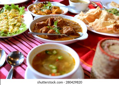 Set of Burmese food on table at Myanmar restaurant