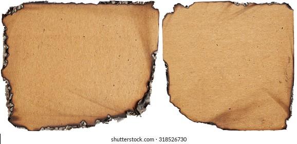 Set of burnt cardboards isolated on white background