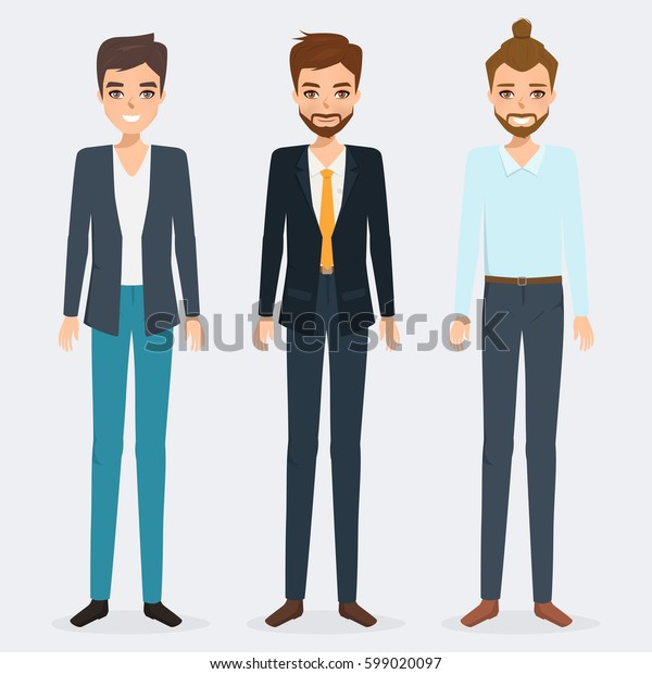 set of business man character. avatar people realistic vector design.