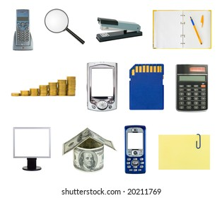 Set of business objects isolated white background