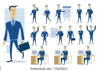 Set of business people and situations. Presentation, agreement, work at the computer. Work, office and success. Isolated illustration in flat style on white background.