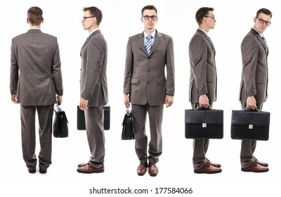 Set of businessman with glasses. Different sides. Back, front, side view. With suitcase.