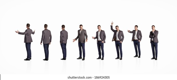 Set of businessman standing in different poses. Isolated on white.