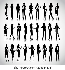 Set of businesswoman silhouettes on the background