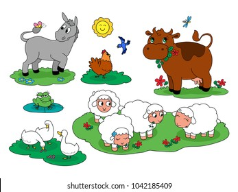 Set of c farm animals for children with donkey and hen cow frog sheep and geese.