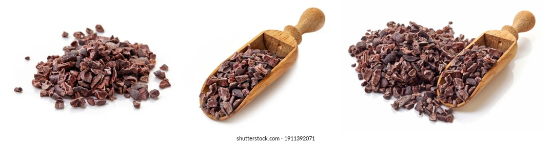 Set of cacao nibs, isolated on white background