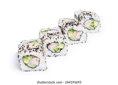 Set of California sushi rolls with sesame isolated on white