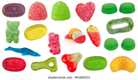 Set of candy of different shapes, colors and flavors