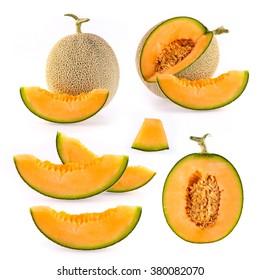 Set cantaloupe melon slices isolated on white background