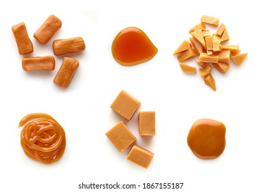 Set of Caramel candies with sweet sauce top view isolated on white backgrund