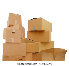 Set of cardboard boxes, isolated white background