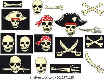 set of carelessly drawn skulls, saber and bones, imitating the style of pirate flag. Each subject has background, to be easier to edit