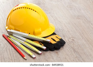 Set of carpenter equipment tools for building