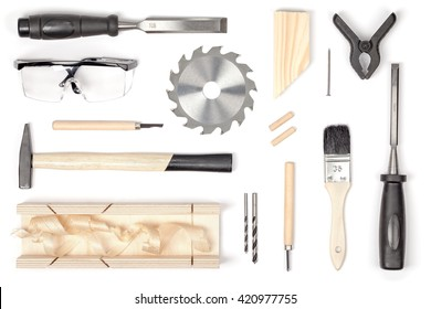 set of carpentry tools on white background top view. carpenter working table. carpentry and woodwork industry flat lay concept