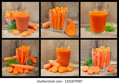 Set of carrots and juice carrots close up.