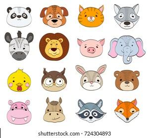 set of cartoon animal faces on white. baby animals symbols drawing illustration