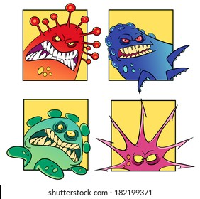 Set of cartoon concepts of dangerous monsters or viruses