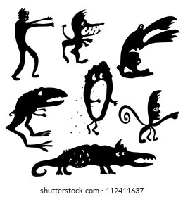Set of Cartoon funny black monsters silhouettes. Night fears