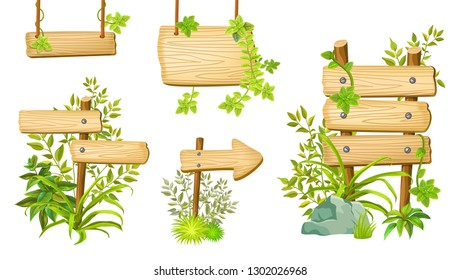 Set cartoon game panels in jungle style with space for text. Isolated wooden gui elements with tropical plants and boards. Illustration on white background.