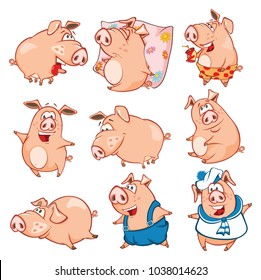 Set of Cartoon Illustration. Cute Pigs in Different Poses for you Design. Cartoon Character