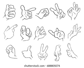 A Set of  Cartoon Illustrations. Hands with Different Gestures for you Design