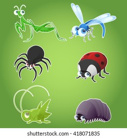 Set of cartoon insects as such as ladybug, dragonfly, spider and others