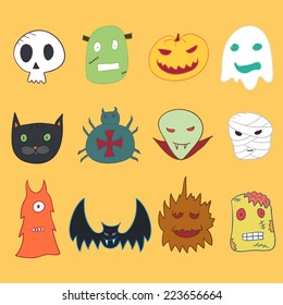 Set of cartoon monster head. Halloween.