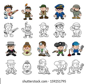 A set of cartoon people or children playing dress up. Includes color and black and white outline versions.