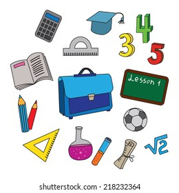 Set of cartoon school icons. Raster collection of usual shcool objects. Cutout objects