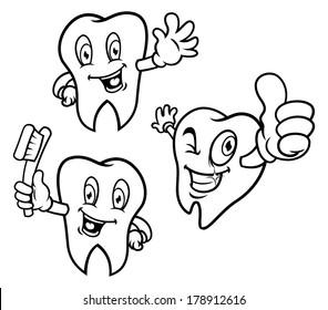 set of cartoon teeth in various expressions