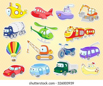 Set of cartoon transport: plane, train, bus, car, helicopter, van, vehicle, aircraft, taxi, crane, excavator.