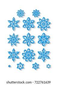Set of carved snowflakes isolated on white background. Art raster illustration.