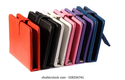 Set cases colors closed for tablet on white background with support