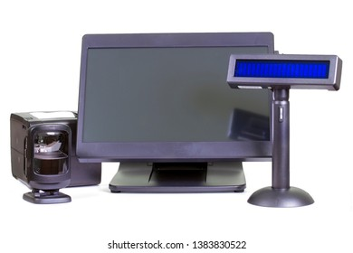 Set of cash equipment - сomputer, scanner of bar codes, cash register display and cash register (fiscal drive)