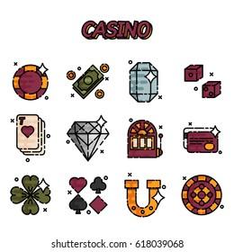 Set of casino icons in flat design.