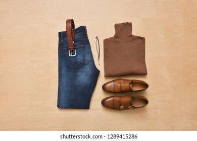 Set of casual men's outfit top view. Clothing and fashion background