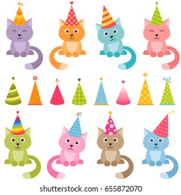 Set of cats and colorful Birthday hats. Raster version