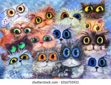 Set of cat's portrait