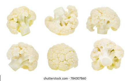 set of cauliflower vegetable isolated on white background