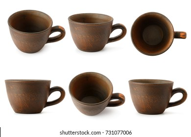 Set of ceramic cups with different camera angles isolated on white background. Clipping path.