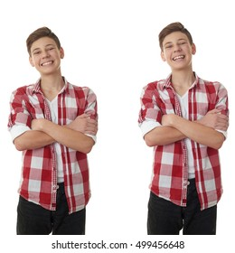 Set of cet of cute teenager boy in red checkered with crossed arms shirt over white isolated background, half body