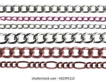 set of chains on a white background.