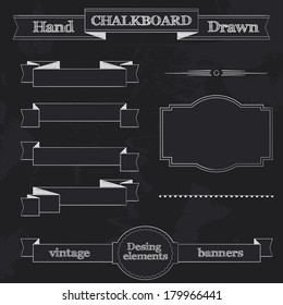 Set of Chalkboard Style Banners, Ribbons and Frames