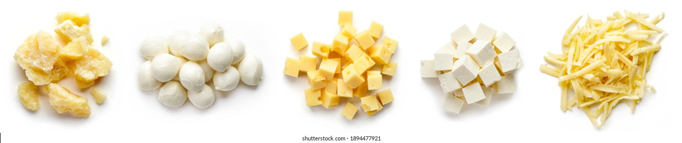 Set of cheese pieces - parmesan, mozzarella, diced, grated and soft cheese isolated on white background, top view
