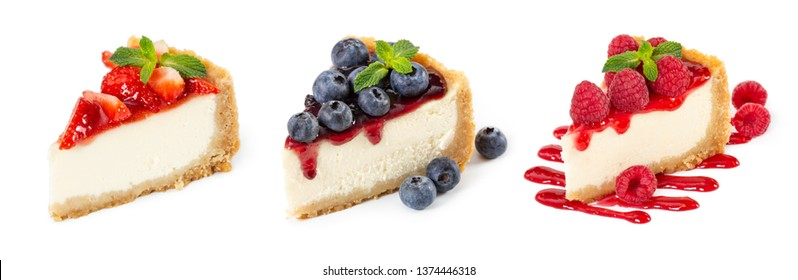 Set of cheesecakes with fresh berries and mint isolated on white background