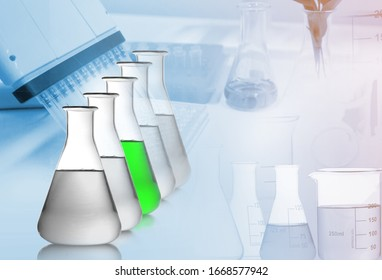 Set of chemical glassware in Science. Concept of science laboratory research and development from medicinal plants.