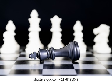 Set of chess figures on the playing board, Close up chess pieces on chessboard