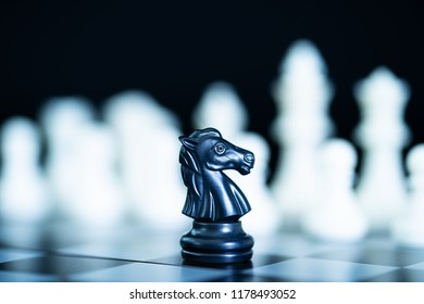 Set of chess figures on the playing board, Close up chess pieces on chessboard,