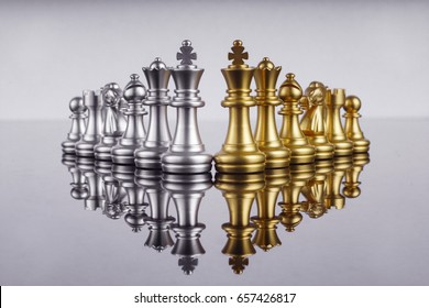 Set of chess leadership concept