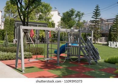 Set of children playground  in the city garden park.